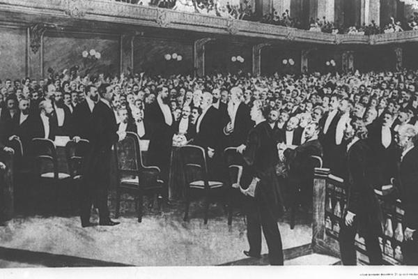 theodor herzl at the first zionist congress in basel on 25 8 1897 tvdvr hrtsl bqvngrs htsyvny hrshvn  1897 8 25